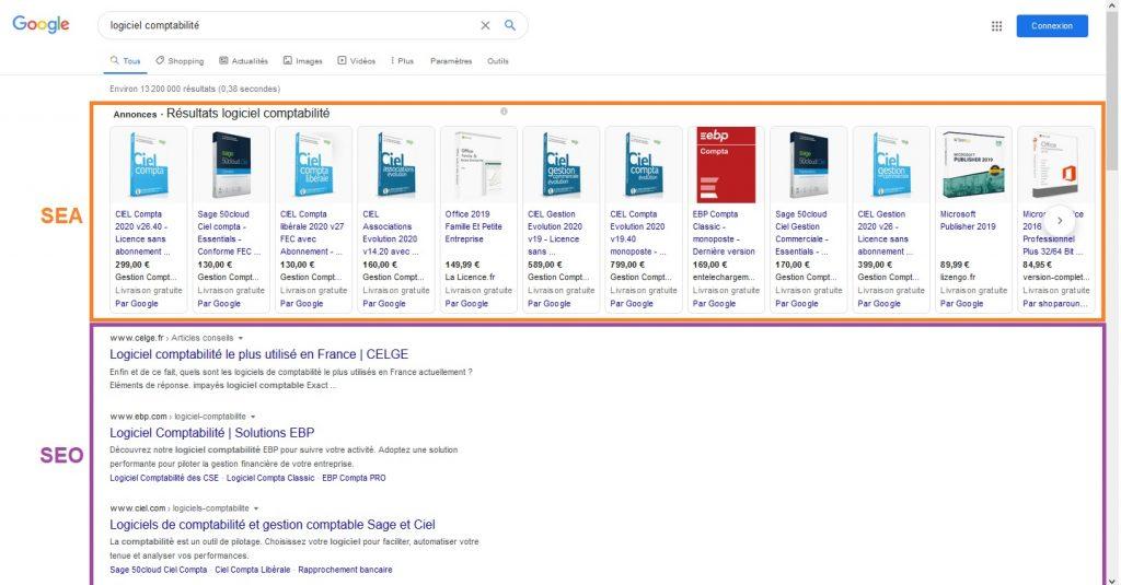 SERP de Google avec SEO & SEA
